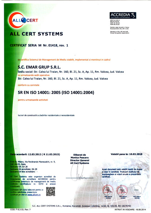 CERTIFICARE ISO 140001:2004